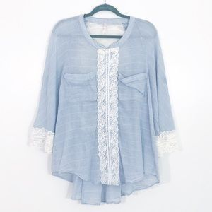 Free People Blue Flowy Lace Panel Blouse Top M
